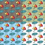 Umbrellas, clouds and rain drops. Seamless pattern with umbrellas, clouds and rain drops Stock Photos