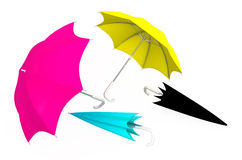 Umbrellas CMYK Royalty Free Stock Photography