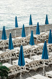 Umbrellas on the coast of France Royalty Free Stock Photo