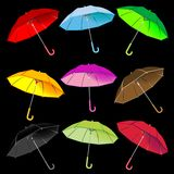 Umbrellas collection against black Stock Photography