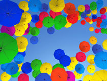 Umbrellas. Colorful umbrellas in blue sky Royalty Free Stock Photography
