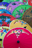 Umbrellas. Colorful and lovely umbrellas on display royalty free stock photos