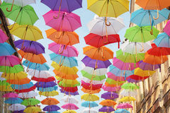 Umbrellas colorful Stock Images