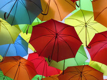 Umbrellas. Colourful display in Eastbourne, East Sussex, England,UK Royalty Free Stock Photos