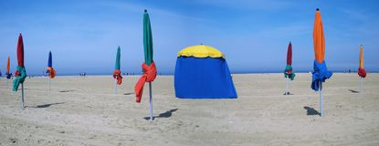 Umbrellas of Deauville Royalty Free Stock Photography