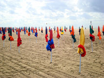 The Umbrellas of Deauville. The umbreallas on the Beach of Deauville celebrating the stars of cinema Royalty Free Stock Photo