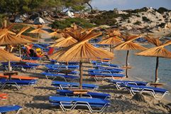 Umbrellas and deck chairs on the sandy beach Royalty Free Stock Photo