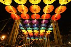 Umbrellas decoration in Chiang Mai Flower Festival, Thailand Stock Photos