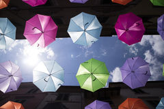 Umbrellas of different colors Stock Photo