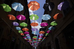 Umbrellas of different colors Stock Image