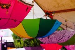 Umbrellas On a District Bazaar Royalty Free Stock Photos