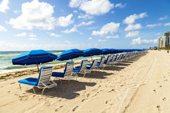 Umbrellas and empty beach couches. At the beach in Miami Stock Image