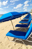 Umbrellas and empty beach couches. At the beach in Miami Royalty Free Stock Photos