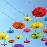 Umbrellas, handmade on sky in Chiang Mai, Thailand. Royalty Free Stock Image