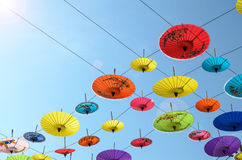 Umbrellas, handmade on sky in Chiang Mai, Thailand. Royalty Free Stock Photography