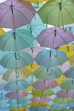 Umbrellas hanging above Royalty Free Stock Image