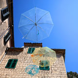 Umbrellas hanging for decoration of street. Stock Image