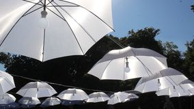 Umbrellas hanging with light in the middle stock video