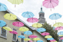 Umbrellas hanging over the streets of Augsburg Royalty Free Stock Photos