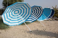 Umbrellas lounge chairs Royalty Free Stock Image