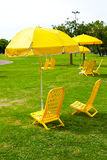 Umbrellas and loungers standing on the grass. Yellow umbrellas and loungers standing on the grass royalty free stock photo