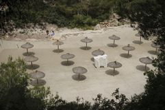 Umbrellas in Mallorca beach in Spain royalty free stock photos