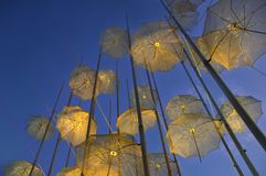 Umbrellas, a modern artwork at the waterfront of Thessalonica - Greece Royalty Free Stock Photos