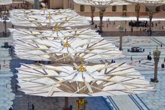 Umbrellas in Nabawi Mosque from Above royalty free stock image