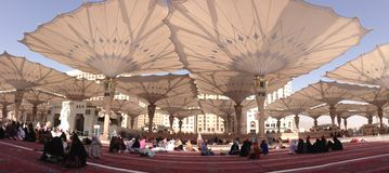 The Umbrellas at Nabawi Mosque Stock Images