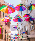 Umbrellas near street cafe in Istanbu Royalty Free Stock Photography