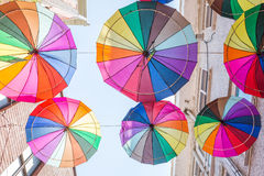 Umbrellas near street cafe in Istanbu Stock Photos