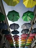 Umbrellas. In the outlet center Neumünster & x28;germany& x29 royalty free stock photography