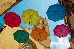 Umbrellas over the city Stock Images