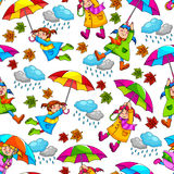 Umbrellas pattern. Seamless pattern with kids holding umbrellas Stock Image