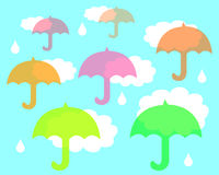 Umbrellas in the rain Royalty Free Stock Image