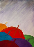 Umbrellas, rain, autumn, illustration, copy space. Royalty Free Stock Image
