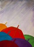 Umbrellas, rain, autumn, illustration, copy space. Colorful umbrellas, autumn rain, grey, overcast sky, painting in mixed technique stock illustration