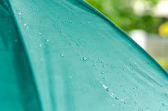 Umbrellas and Rain. Rain drops falling from a green umbrella Royalty Free Stock Images