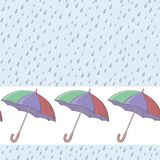 Umbrellas and rain, seamless background Royalty Free Stock Photo