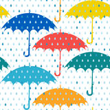 Umbrellas and rain. Seamless pattern. Stock Photography