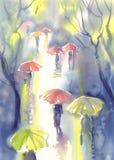 Umbrellas in the rain watercolor vector illustration