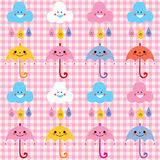 Umbrellas raindrops clouds cute characters pattern swatch Royalty Free Stock Photo