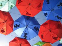 Umbrellas, Red, Blue, Patterns Stock Photography