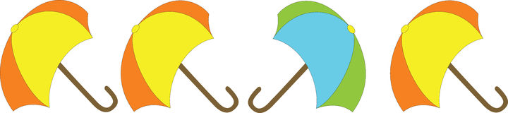 Umbrellas in a Row. Bright coloured spring umbrellas for a rainy day royalty free illustration