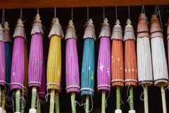 Umbrellas for sale in Inlay Lake, Myanmar Stock Photo