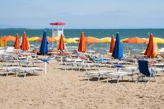 Umbrellas on Sandy Beach Royalty Free Stock Images