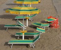 Umbrellas in sandy beach seen from above Royalty Free Stock Images