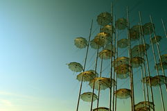 Umbrellas Sculpture Thessaloniki. Umbrellas sculpture by Giorgos Zogolopoulos. A famous landmark in the waterfront of Thessaloniki, Greece Stock Photo