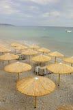 Umbrellas on the sea beach Royalty Free Stock Photography