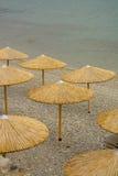 Umbrellas on the sea beach Royalty Free Stock Image